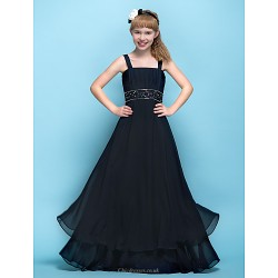 Floor-length Chiffon Junior Bridesmaid Dress - Black A-line Straps