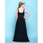 Floor-length Chiffon Junior Bridesmaid Dress - Black A-line Straps Junior Bridesmaid Dresses