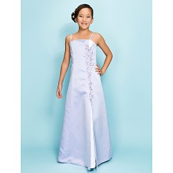 Floor Length Satin Junior Bridesmaid Dress Lavender A Line Princess Spaghetti Straps