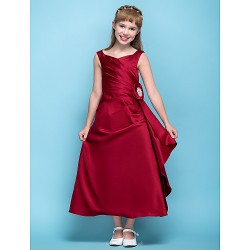 Tea Length Satin Junior Bridesmaid Dress Burgundy A Line V Neck