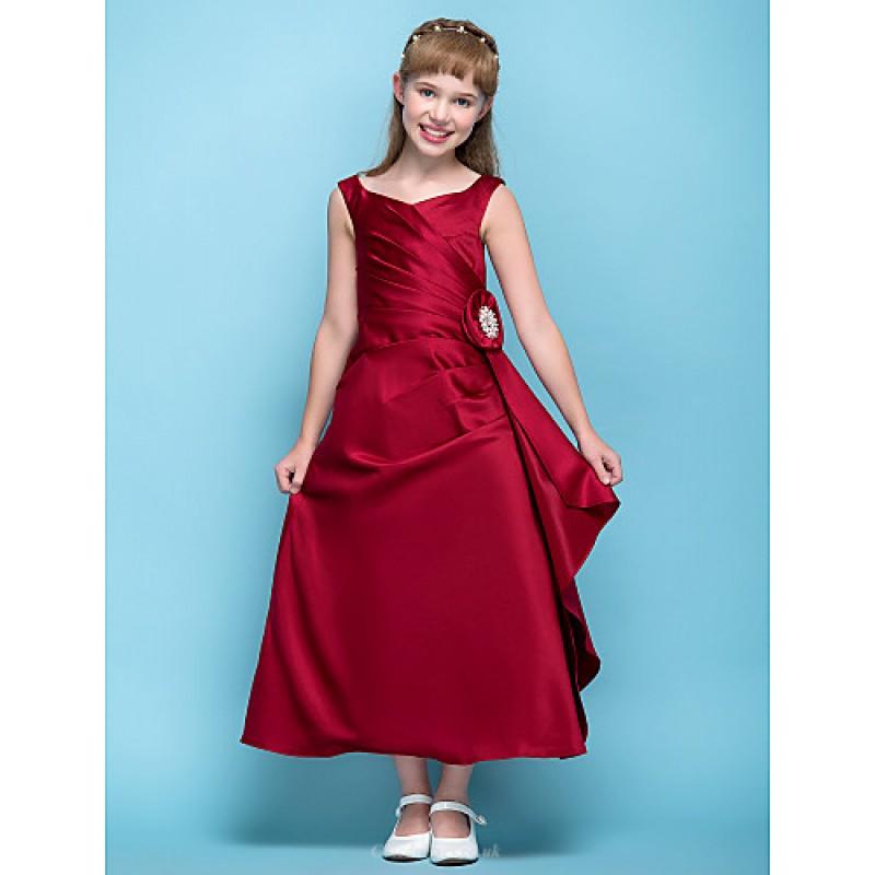 161bd47ef Tea-length Satin Junior Bridesmaid Dress - Burgundy A-line V-neck Junior