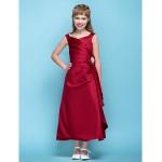 Tea-length Satin Junior Bridesmaid Dress - Burgundy A-line V-neck Junior Bridesmaid Dresses
