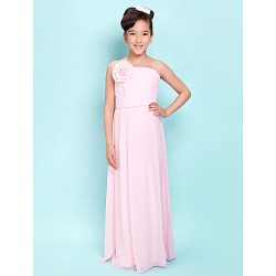Floor Length Chiffon Junior Bridesmaid Dress Blushing Pink Sheath Column Strapless