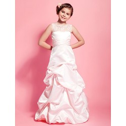 Floor Length Satin Lace Junior Bridesmaid Dress Pearl Pink A Line Princess Scoop