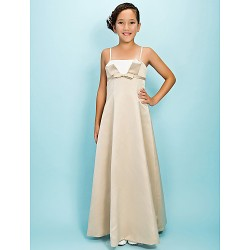 Floor-length Satin Junior Bridesmaid Dress - Champagne A-line / Princess Spaghetti Straps