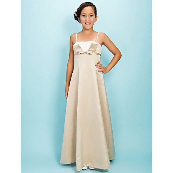 Floor-length Satin Junior Bridesmaid Dress - Champagne A-line / Princess Spaghetti Straps Junior Bridesmaid Dresses