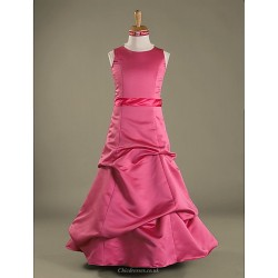 Floor-length Satin Junior Bridesmaid Dress - Watermelon A-line / Princess Jewel
