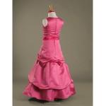 Floor-length Satin Junior Bridesmaid Dress - Watermelon A-line / Princess Jewel Junior Bridesmaid Dresses