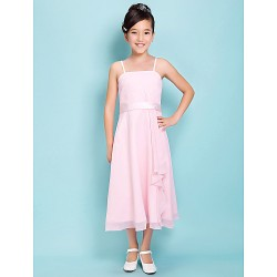 Tea Length Satin Chiffon Junior Bridesmaid Dress Blushing Pink Sheath Column Spaghetti Straps Square