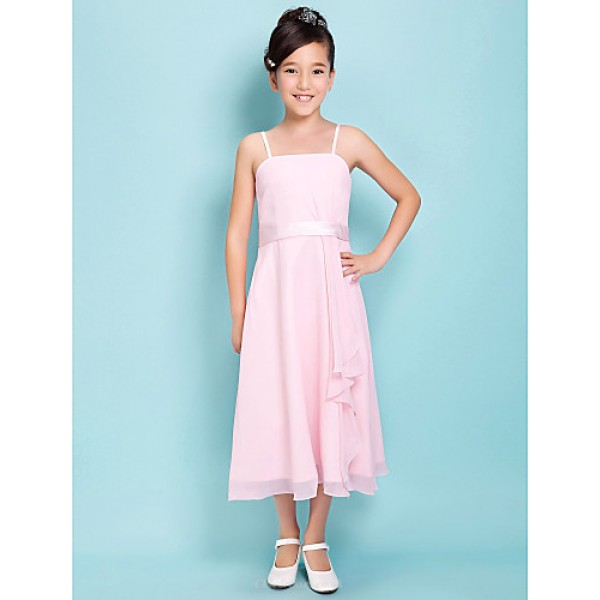 Tea-length Satin Chiffon Junior Bridesmaid Dress - Blushing Pink Sheath/Column Spaghetti Straps / Square Junior Bridesmaid Dresses
