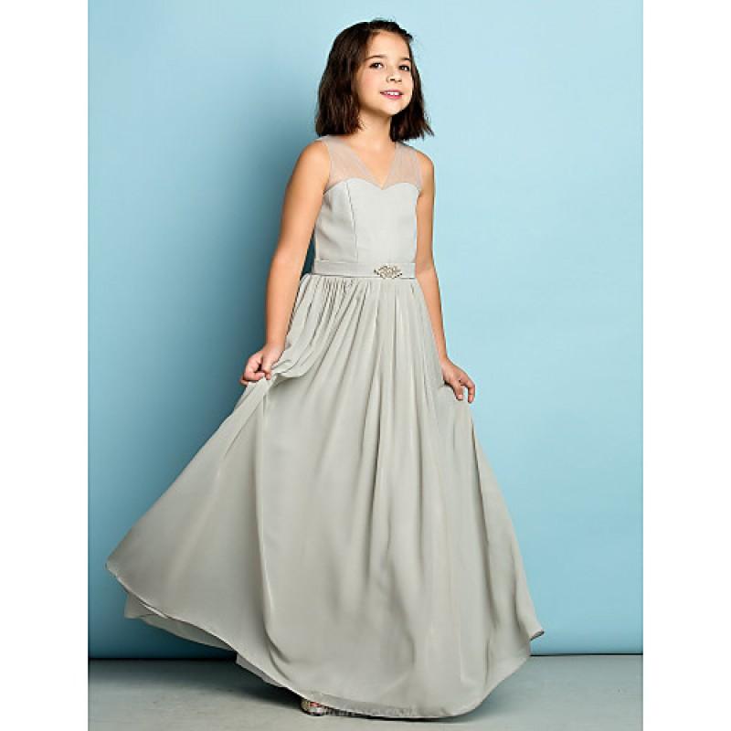 Floor Length Chiffon Junior Bridesmaid Dress Silver A Line V Neck