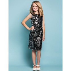 Knee-length Sequined Junior Bridesmaid Dress - Black Sheath/Column Jewel