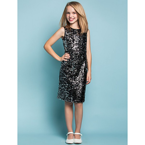 Knee-length Sequined Junior Bridesmaid Dress - Black Sheath/Column Jewel Junior Bridesmaid Dresses