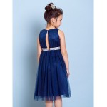 Knee-length Tulle Junior Bridesmaid Dress - Dark Navy A-line Jewel Junior Bridesmaid Dresses