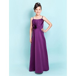 Floor-length Satin Junior Bridesmaid Dress - Grape Sheath/Column / A-line Spaghetti Straps