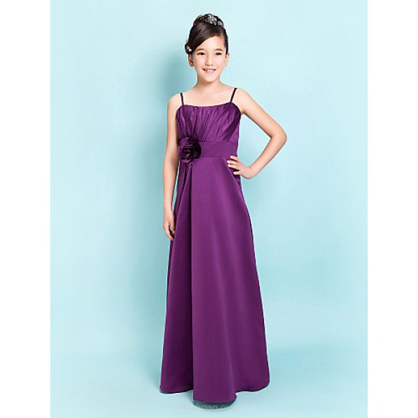 Floor-length Satin Junior Bridesmaid Dress - Grape Sheath/Column / A-line Spaghetti Straps Junior Bridesmaid Dresses