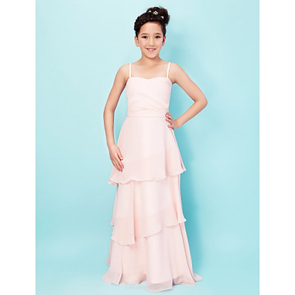 Floor-length Chiffon / Stretch Satin Junior Bridesmaid Dress - Pearl Pink A-line / Princess Spaghetti Straps / Sweetheart Junior Bridesmaid Dresses
