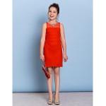 Knee-length Chiffon Junior Bridesmaid Dress - Ruby Sheath/Column Jewel Junior Bridesmaid Dresses