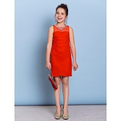 Knee-length Chiffon Junior Bridesmaid Dress - Ruby Sheath/Column Jewel