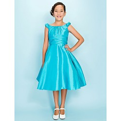 Knee Length Taffeta Junior Bridesmaid Dress Pool A Line Princess Scoop