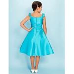 Knee-length Taffeta Junior Bridesmaid Dress - Pool A-line / Princess Scoop Junior Bridesmaid Dresses