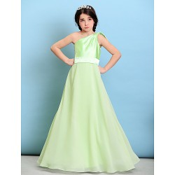 Floor-length Chiffon / Stretch Satin Junior Bridesmaid Dress - Sage A-line One Shoulder