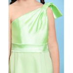 Floor-length Chiffon / Stretch Satin Junior Bridesmaid Dress - Sage A-line One Shoulder Junior Bridesmaid Dresses
