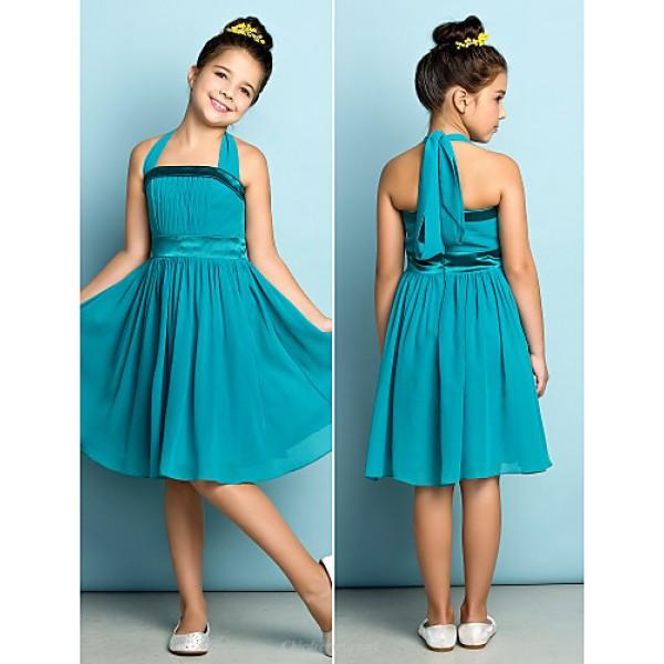 Knee-length Chiffon Junior Bridesmaid Dress - Clover A-line Halter Junior Bridesmaid Dresses