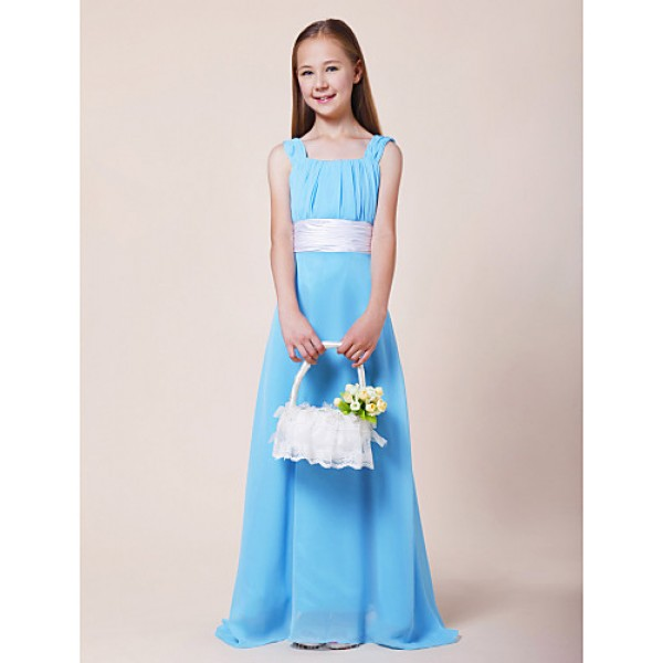 Floor-length Chiffon / Stretch Satin Junior Bridesmaid Dress - Pool A-line Straps / Square Junior Bridesmaid Dresses