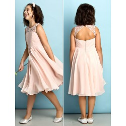 Knee Length Chiffon Junior Bridesmaid Dress Pearl Pink A Line Scoop