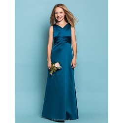 Floor Length Satin Junior Bridesmaid Dress Ink Blue Sheath Column V Neck