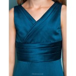 Floor Length Satin Junior Bridesmaid Dress Ink Blue Sheath Column V Neck