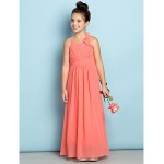 Ankle-length Chiffon Junior Bridesmaid Dress - Watermelon Sheath/Column Halter Junior Bridesmaid Dresses