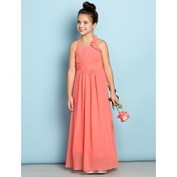 Ankle Length Chiffon Junior Bridesmaid Dress Watermelon Sheath Column Halter