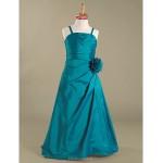 Floor-length Taffeta Junior Bridesmaid Dress - Jade A-line / Princess Spaghetti Straps Junior Bridesmaid Dresses