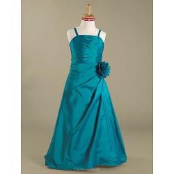 Floor-length Taffeta Junior Bridesmaid Dress - Jade A-line / Princess Spaghetti Straps