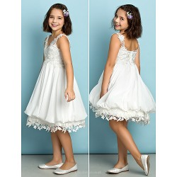Knee Length Chiffon Lace Junior Bridesmaid Dress Ivory A Line V Neck