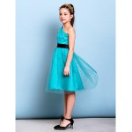 Knee-length Tulle Junior Bridesmaid Dress - Jade A-line One Shoulder Junior Bridesmaid Dresses