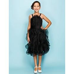 Knee-length Organza Junior Bridesmaid Dress - Black Ball Gown / A-line Spaghetti Straps