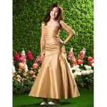 Ankle-length Taffeta Junior Bridesmaid Dress - Gold Trumpet/Mermaid Spaghetti Straps Junior Bridesmaid Dresses