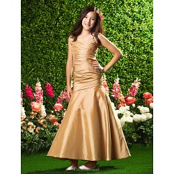 Ankle Length Taffeta Junior Bridesmaid Dress Gold Trumpet Mermaid Spaghetti Straps