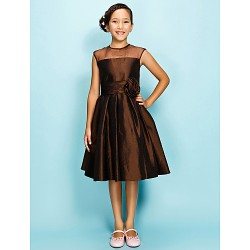 Knee-length Organza / Taffeta Junior Bridesmaid Dress - Chocolate A-line / Princess Jewel
