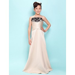 Floor-length Satin Junior Bridesmaid Dress - Champagne A-line / Princess Spaghetti Straps / Scalloped