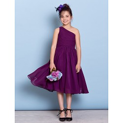 Tea Length Chiffon Junior Bridesmaid Dress Grape A Line One Shoulder