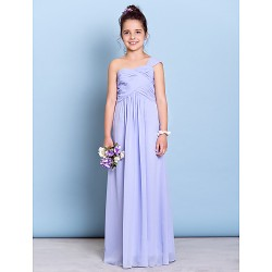 Floor Length Chiffon Junior Bridesmaid Dress Lavender Sheath Column One Shoulder