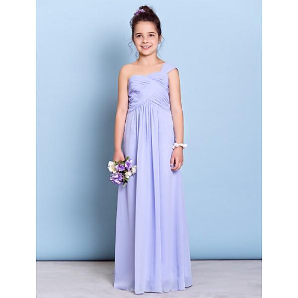 Floor-length Chiffon Junior Bridesmaid Dress - Lavender Sheath/Column One Shoulder Junior Bridesmaid Dresses