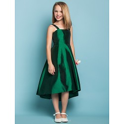 Asymmetrical Taffeta Junior Bridesmaid Dress - Dark Green A-line Straps / Square