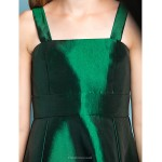 Asymmetrical Taffeta Junior Bridesmaid Dress - Dark Green A-line Straps / Square Junior Bridesmaid Dresses
