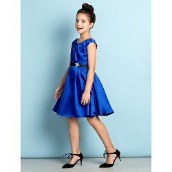 Knee-length Satin Junior Bridesmaid Dress - Royal Blue A-line Scoop