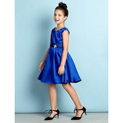Knee Length Satin Junior Bridesmaid Dress Royal Blue A Line Scoop